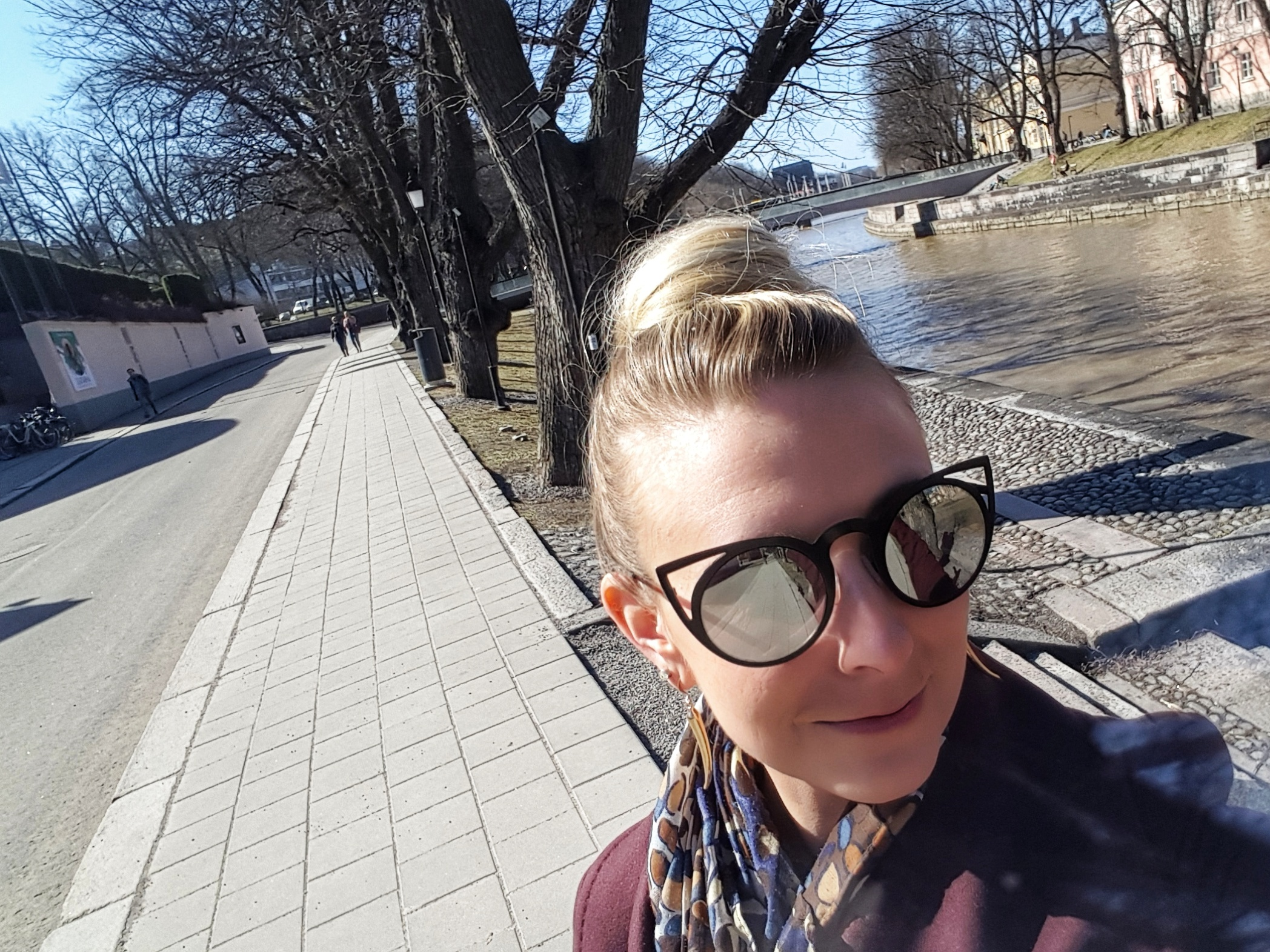 Outlandish blogger selfie tourist traveling Turku