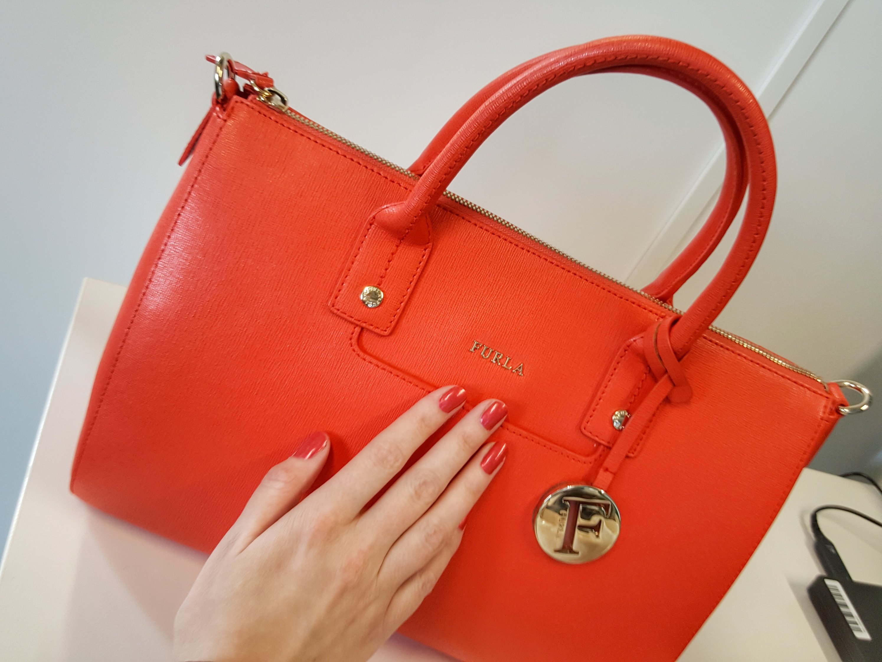 Outlandish blog Furla handbag orange brand bag