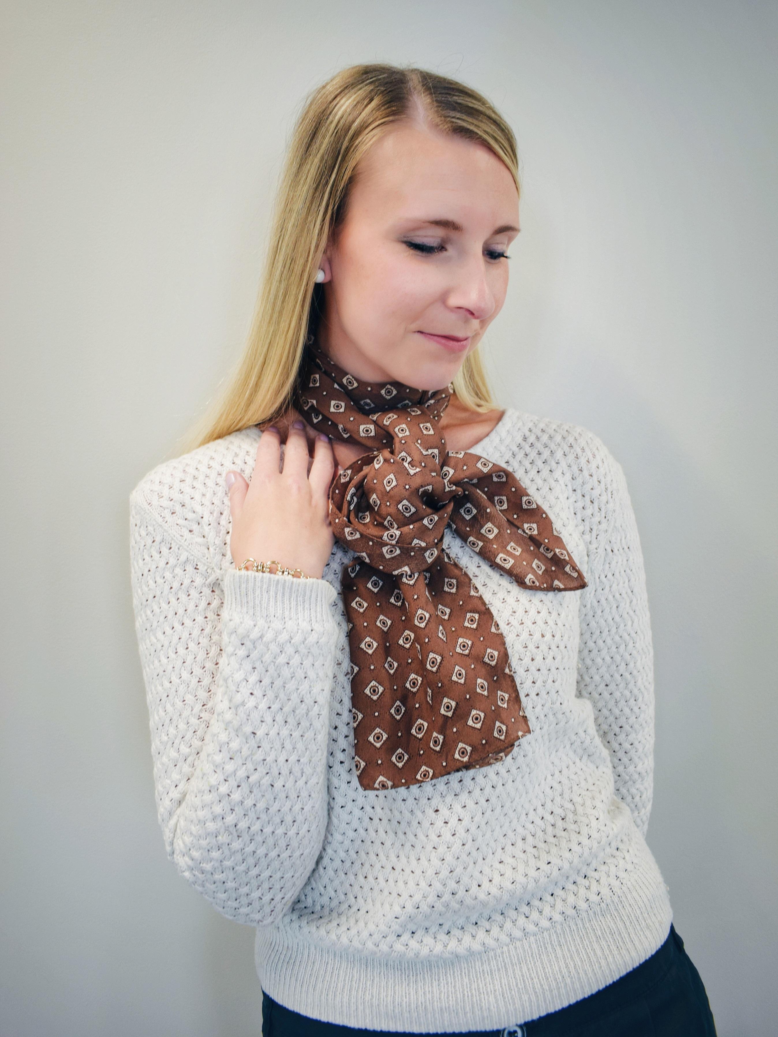 Outlandish blog style fashion trend silk scarf how to wear tutorial