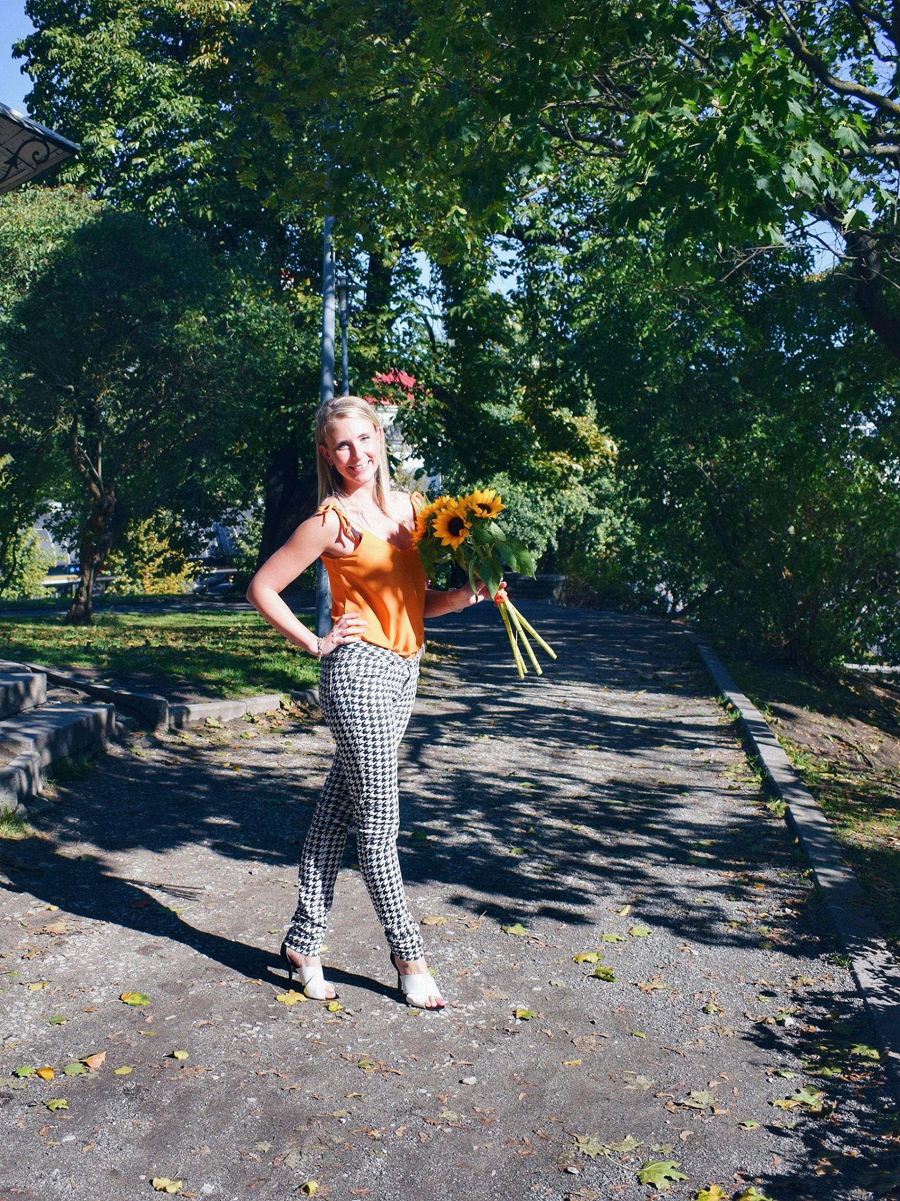 Outlandish blog launch new layout fashion Autumn outfit inspiration orange sunflowers