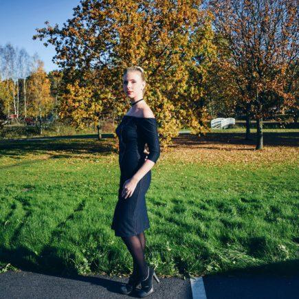 Outlandish blog outfit inspiration bardot neckline dress office chic pinstripe style fashion model